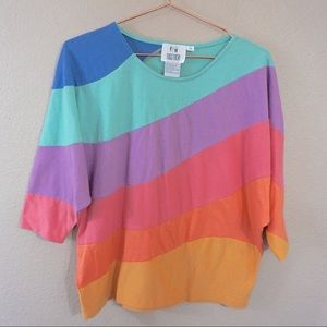 Vintage Colorblock Top With 1/4 Length Sleeves